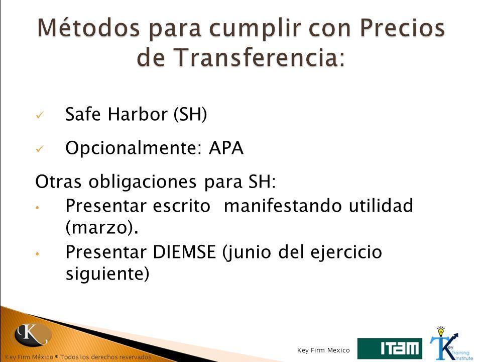 Métodos para cumplir con Precios de Transferencia: