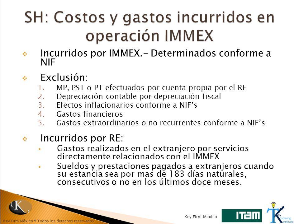 SH: Costos y gastos incurridos en operación IMMEX