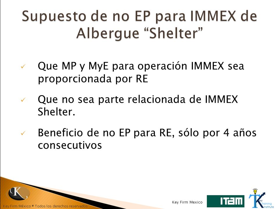 Supuesto de no EP para IMMEX de Albergue Shelter
