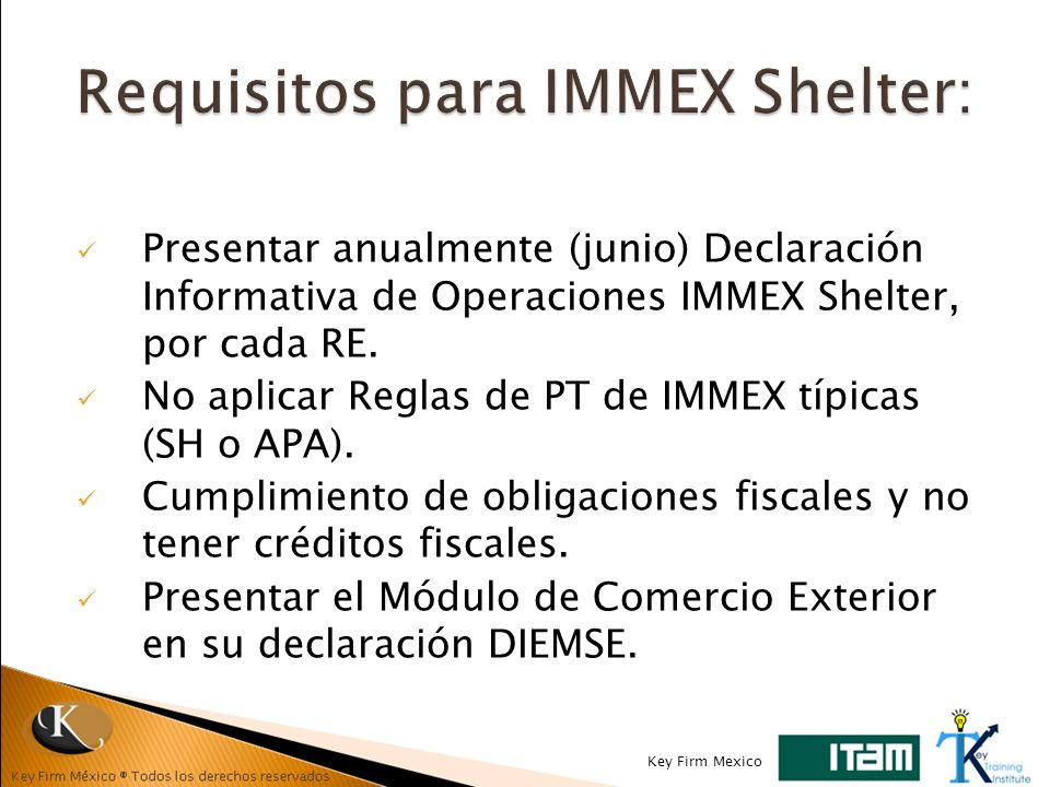 Requisitos para IMMEX Shelter: