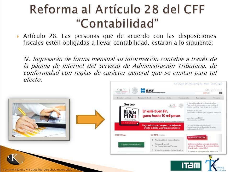 Reforma al Artículo 28 del CFF Contabilidad