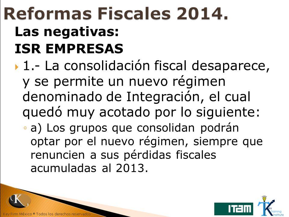 Reformas Fiscales 2014. Las negativas: ISR EMPRESAS