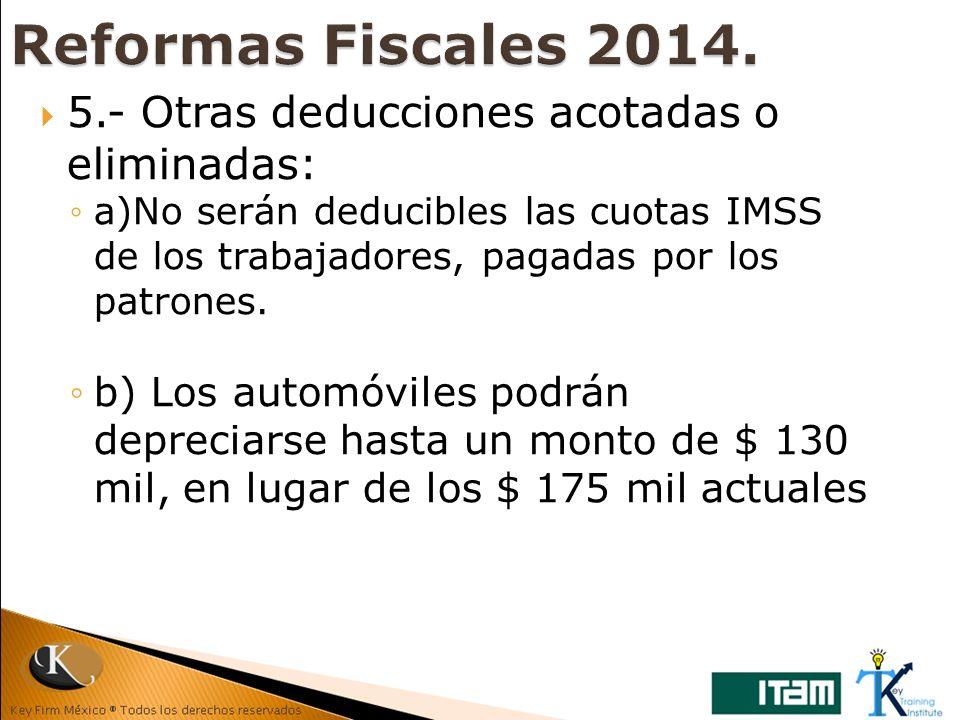 Reformas Fiscales 2014. 5.- Otras deducciones acotadas o eliminadas: