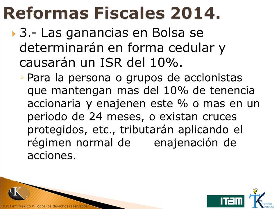 Reformas Fiscales 2014. 3.- Las ganancias en Bolsa se determinarán en forma cedular y causarán un ISR del 10%.