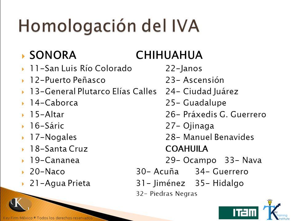 Homologación del IVA SONORA CHIHUAHUA