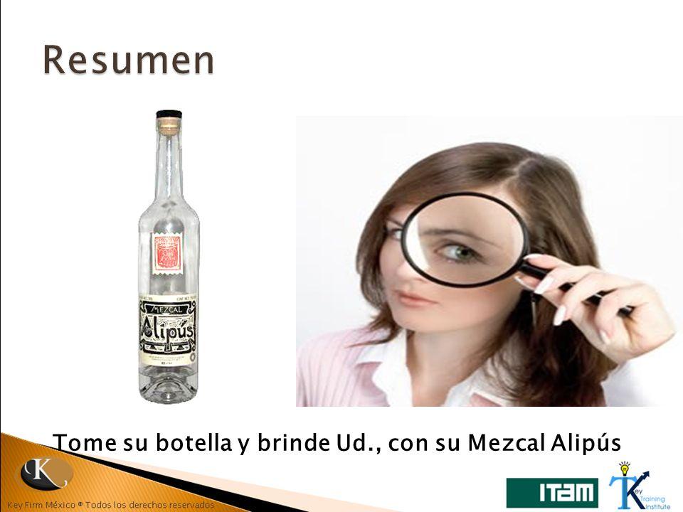 Resumen Tome su botella y brinde Ud., con su Mezcal Alipús