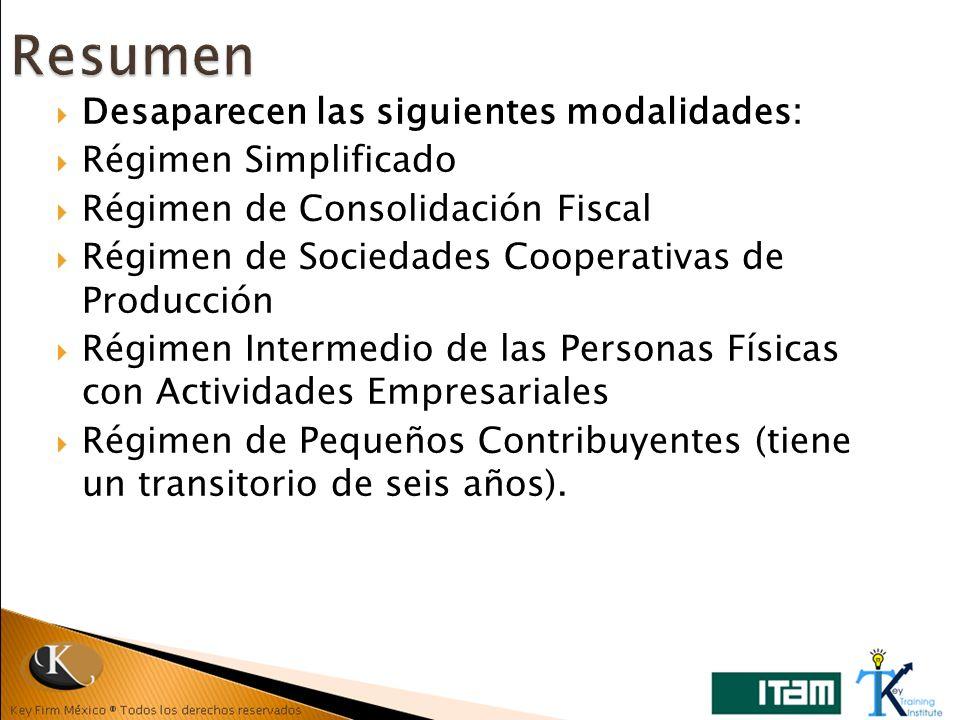 Resumen Desaparecen las siguientes modalidades: Régimen Simplificado