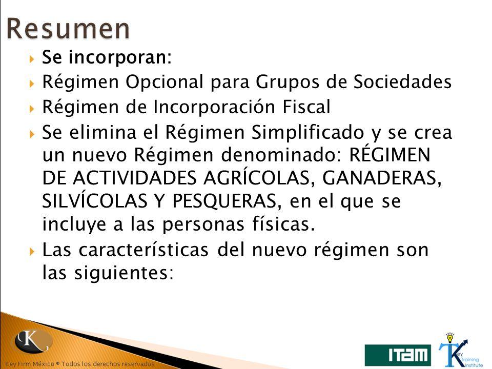 Resumen Se incorporan: Régimen Opcional para Grupos de Sociedades. Régimen de Incorporación Fiscal.