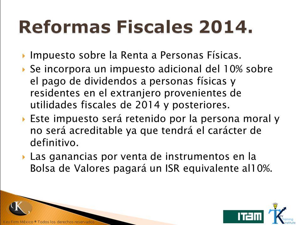Reformas Fiscales 2014. Impuesto sobre la Renta a Personas Físicas.