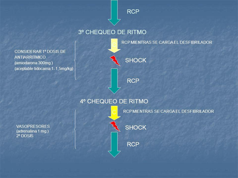 RCP 3º CHEQUEO DE RITMO C SHOCK RCP 4º CHEQUEO DE RITMO C SHOCK RCP