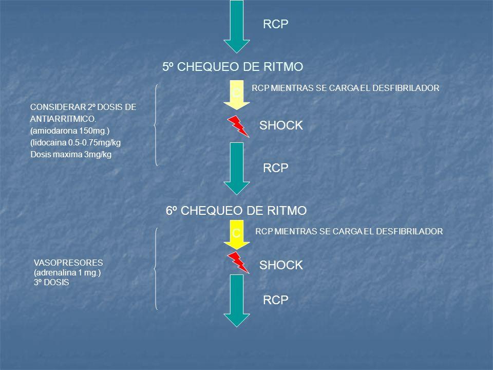 RCP 5º CHEQUEO DE RITMO C SHOCK RCP 6º CHEQUEO DE RITMO C SHOCK RCP