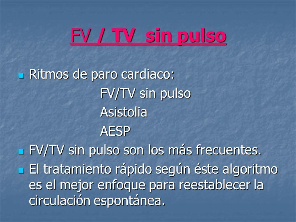 FV / TV sin pulso Ritmos de paro cardiaco: FV/TV sin pulso Asistolia