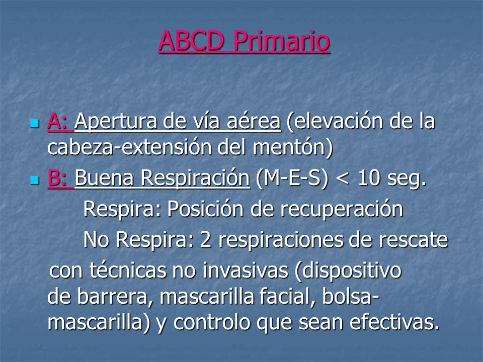 ABCD Primario A: Apertura de vía aérea (elevación de la cabeza-extensión del mentón) B: Buena Respiración (M-E-S) < 10 seg.