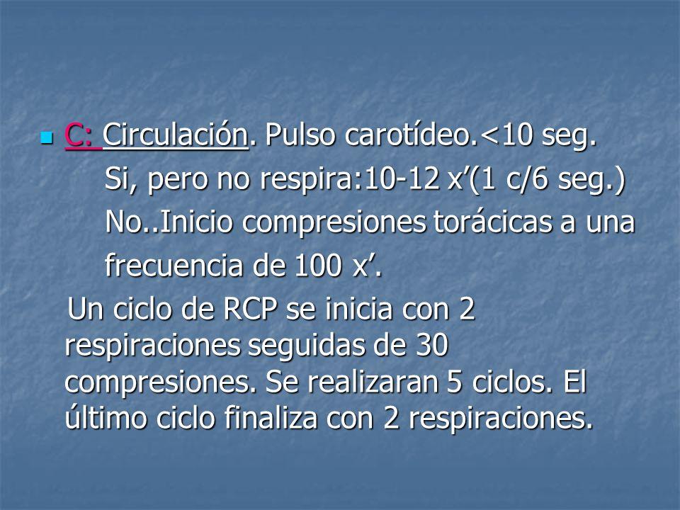 C: Circulación. Pulso carotídeo.<10 seg.