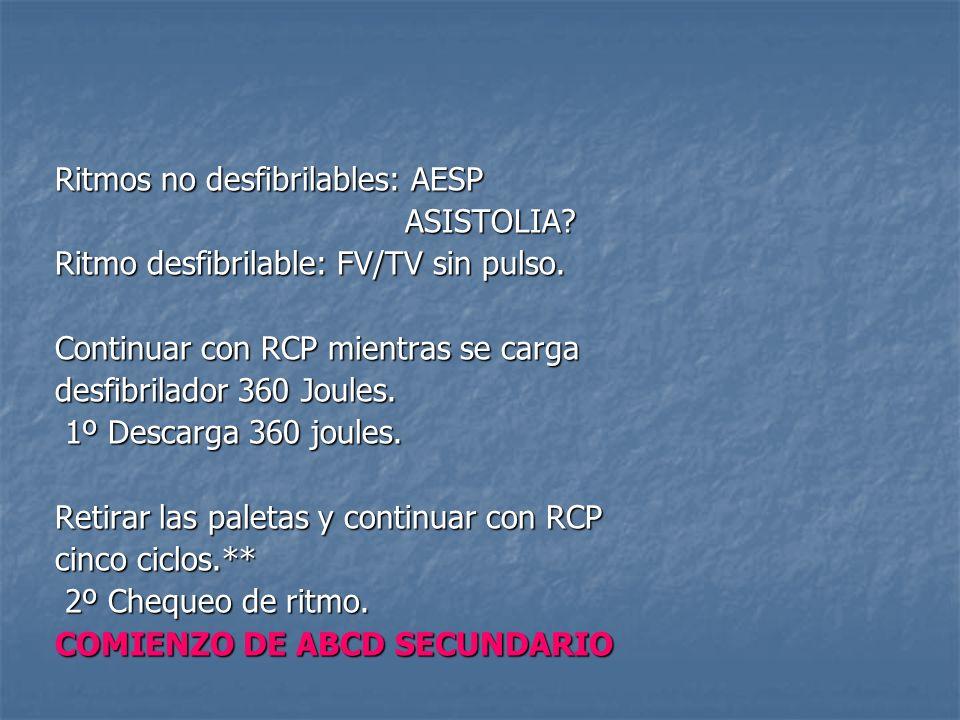 Ritmos no desfibrilables: AESP