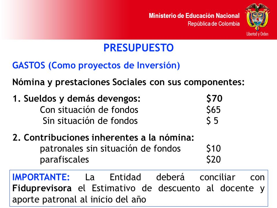 PRESUPUESTO GASTOS (Como proyectos de Inversión)