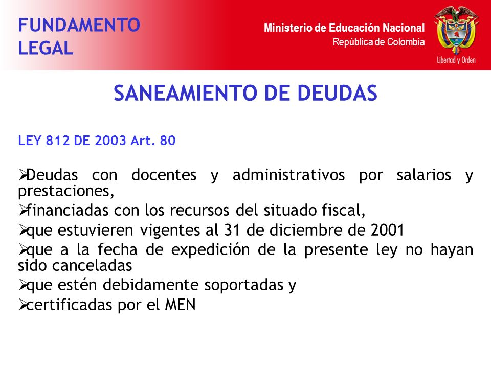 SANEAMIENTO DE DEUDAS FUNDAMENTO LEGAL