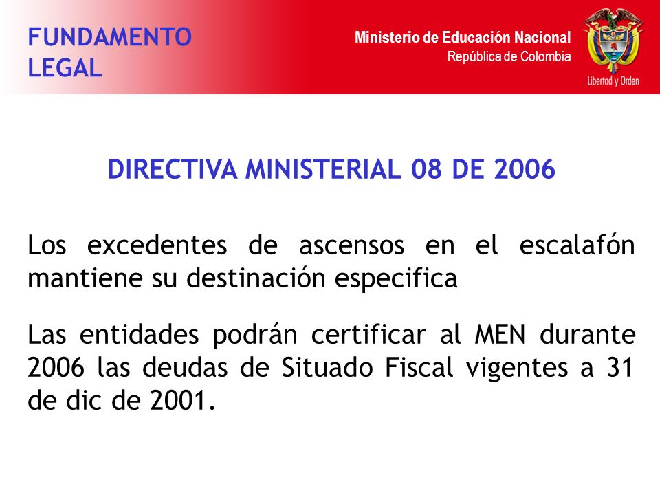 DIRECTIVA MINISTERIAL 08 DE 2006