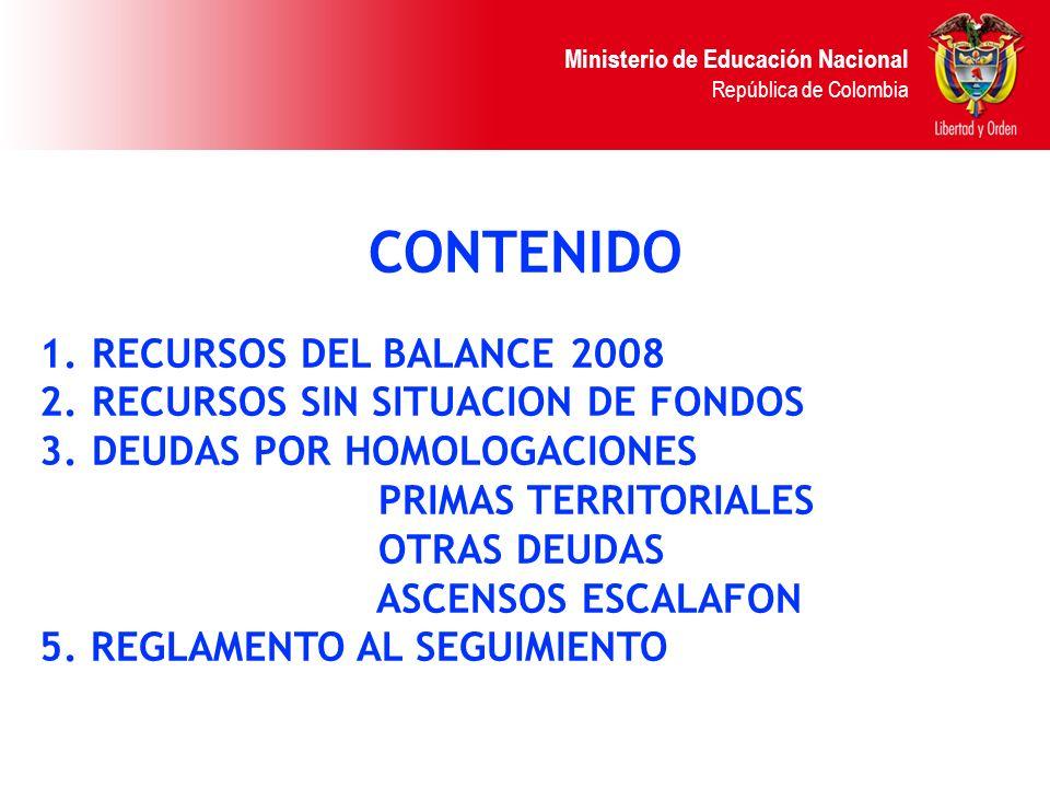 CONTENIDO RECURSOS DEL BALANCE 2008 RECURSOS SIN SITUACION DE FONDOS