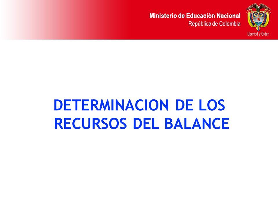 DETERMINACION DE LOS RECURSOS DEL BALANCE