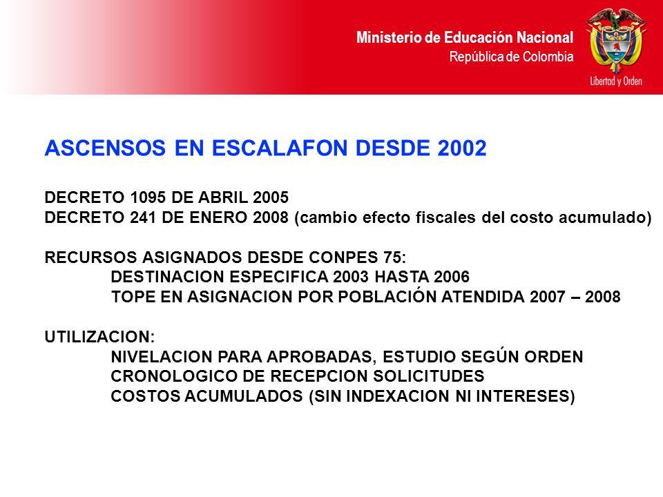 ASCENSOS EN ESCALAFON DESDE 2002