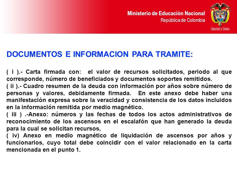DOCUMENTOS E INFORMACION PARA TRAMITE: