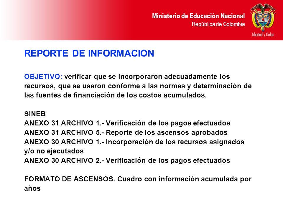 REPORTE DE INFORMACION