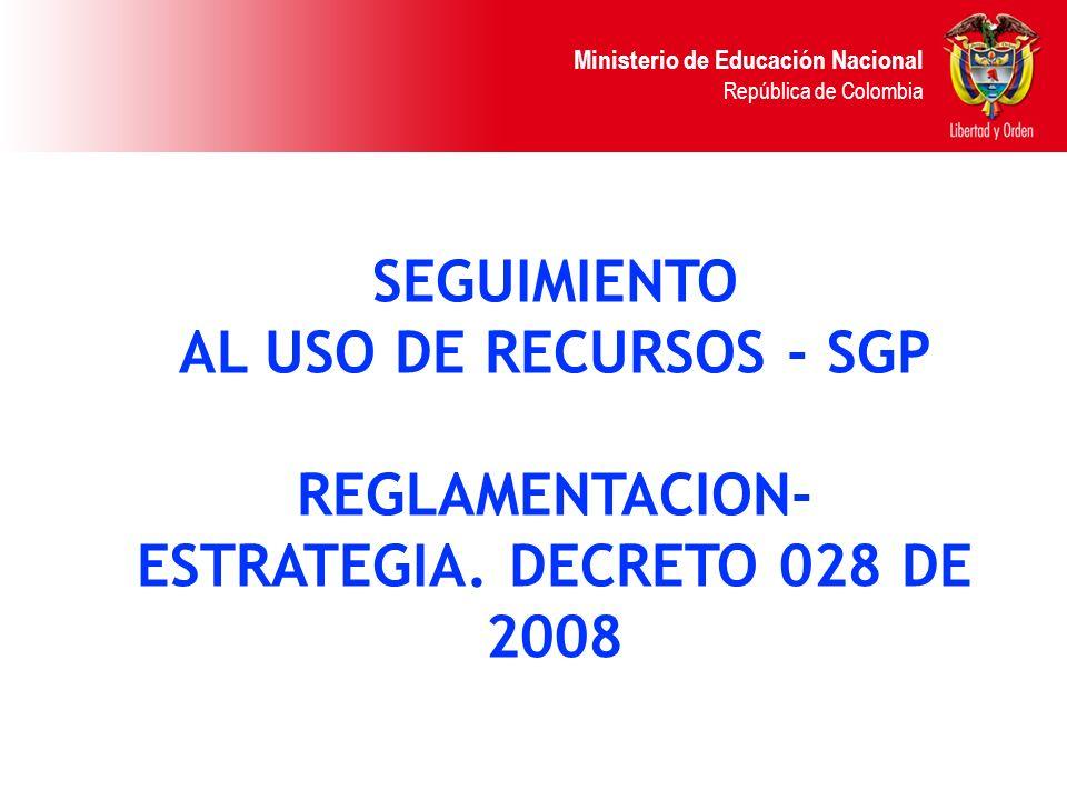 REGLAMENTACION- ESTRATEGIA. DECRETO 028 DE 2008