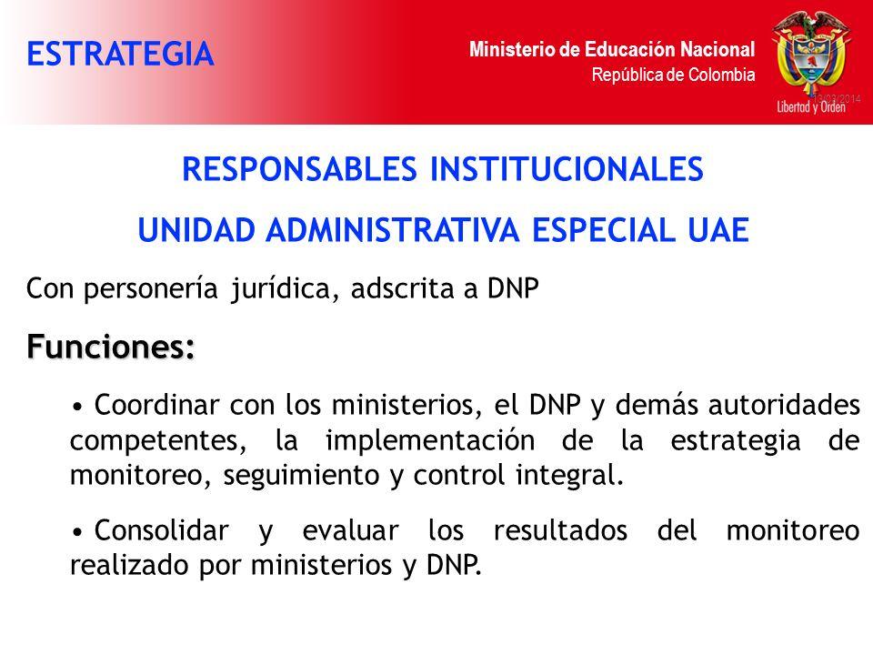 RESPONSABLES INSTITUCIONALES UNIDAD ADMINISTRATIVA ESPECIAL UAE