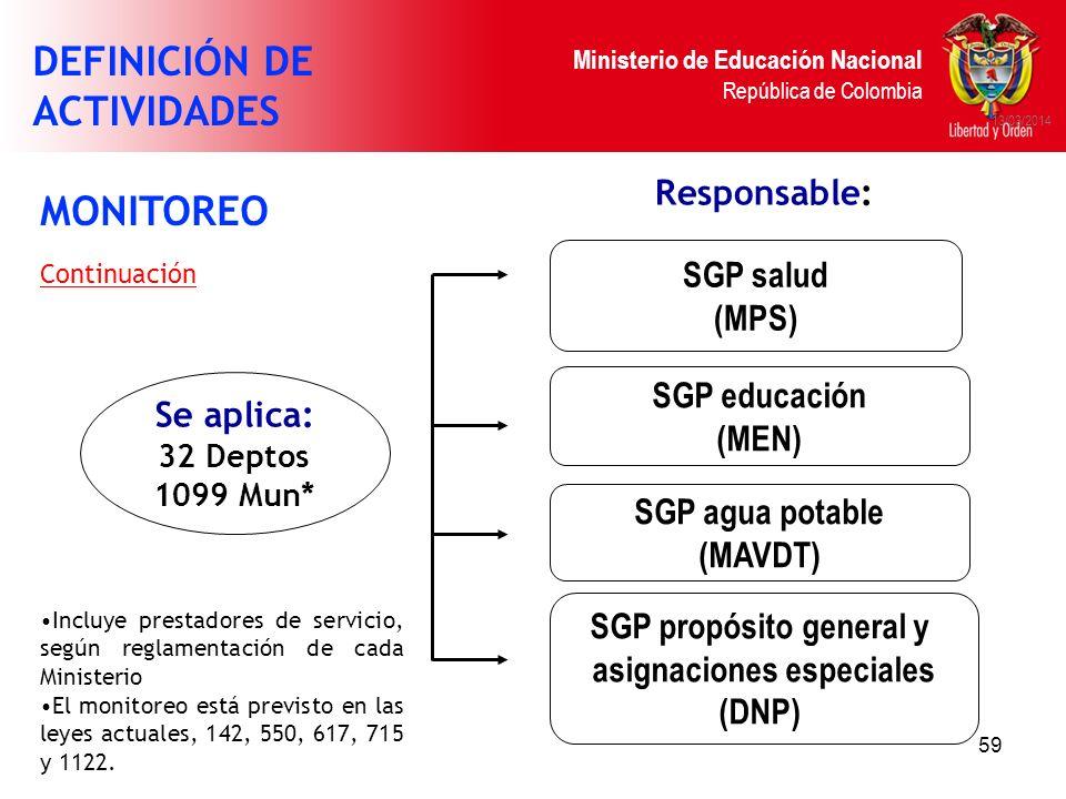 SGP propósito general y asignaciones especiales