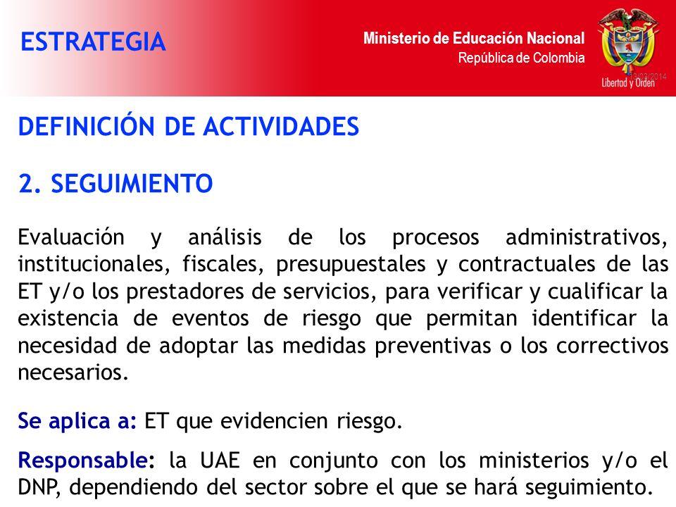 DEFINICIÓN DE ACTIVIDADES 2. SEGUIMIENTO