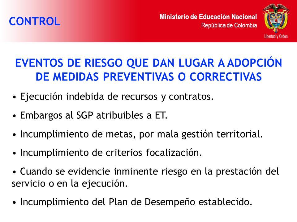 CONTROL EVENTOS DE RIESGO QUE DAN LUGAR A ADOPCIÓN DE MEDIDAS PREVENTIVAS O CORRECTIVAS. Ejecución indebida de recursos y contratos.