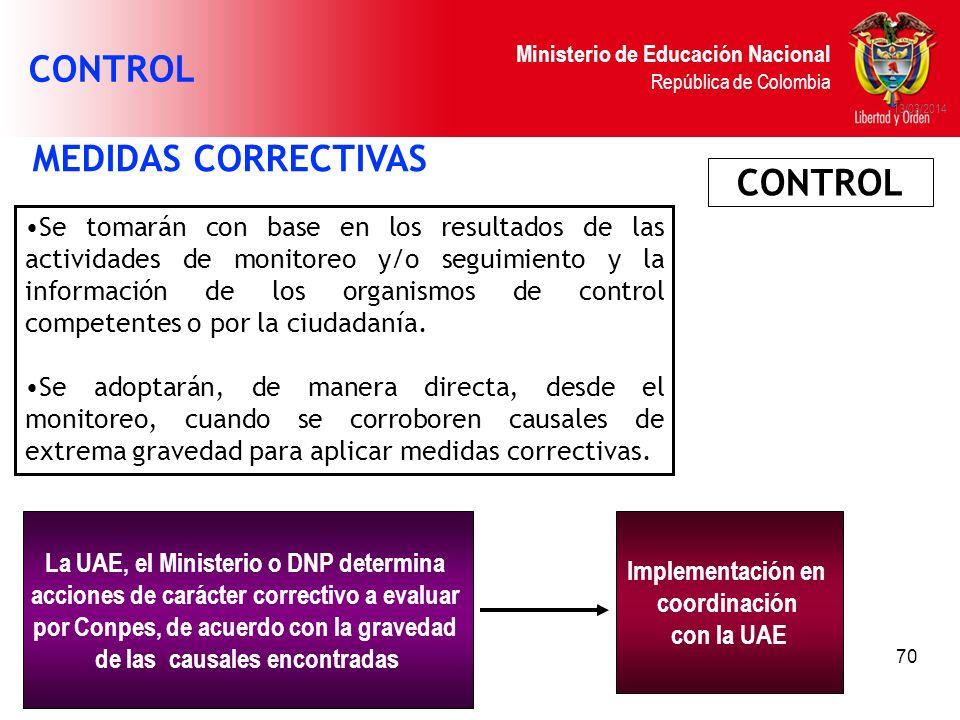 CONTROL MEDIDAS CORRECTIVAS CONTROL