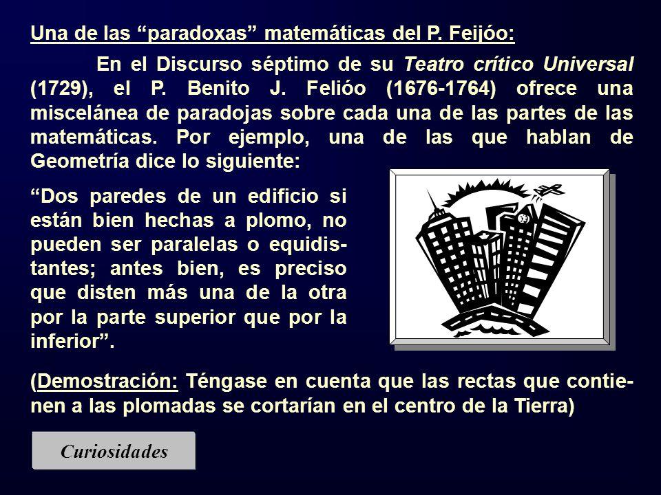 Una de las paradoxas matemáticas del P. Feijóo: