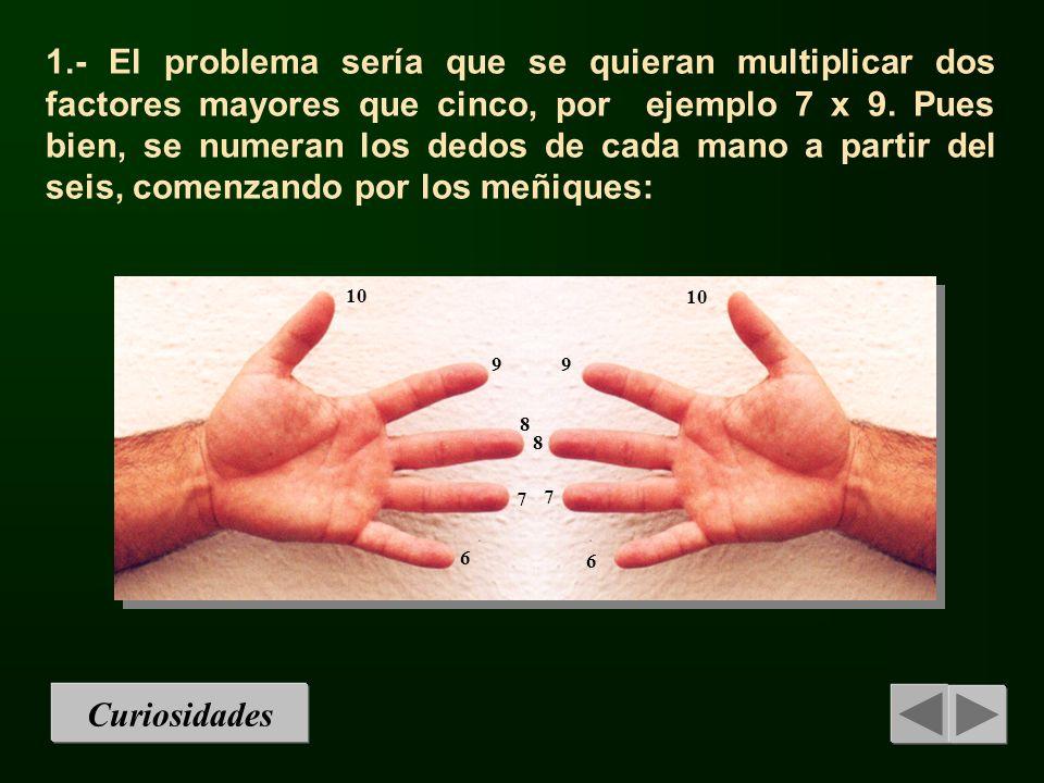 1.- El problema sería que se quieran multiplicar dos factores mayores que cinco, por ejemplo 7 x 9. Pues bien, se numeran los dedos de cada mano a partir del seis, comenzando por los meñiques: