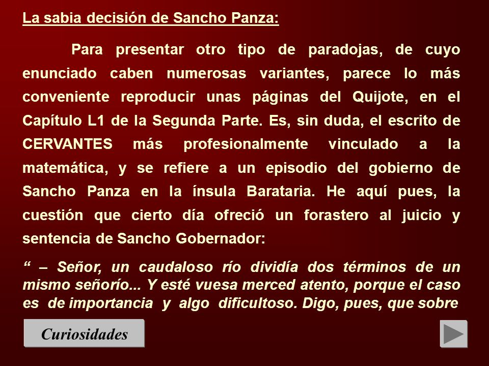 Curiosidades La sabia decisión de Sancho Panza:
