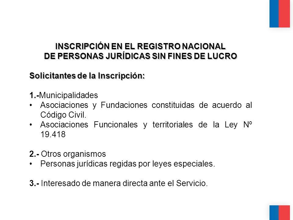 INSCRIPCIÓN EN EL REGISTRO NACIONAL