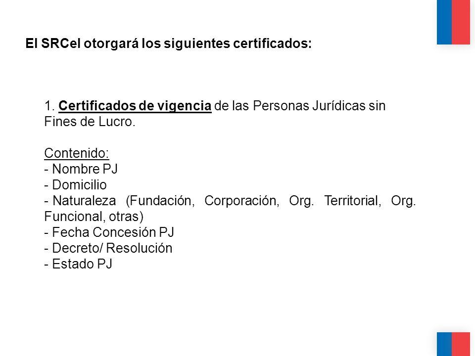 El SRCeI otorgará los siguientes certificados: