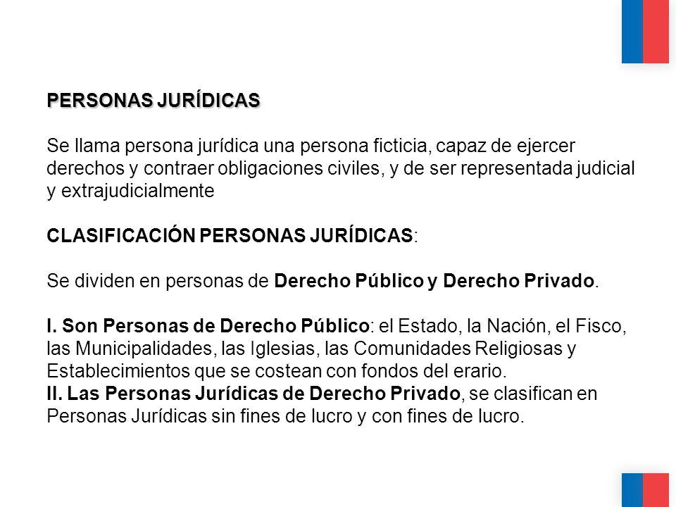 PERSONAS JURÍDICAS Se llama persona jurídica una persona ficticia, capaz de ejercer derechos y contraer obligaciones civiles, y de ser representada judicial y extrajudicialmente CLASIFICACIÓN PERSONAS JURÍDICAS: