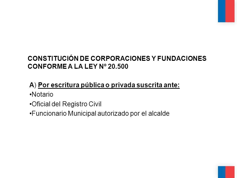 CONSTITUCIÓN DE CORPORACIONES Y FUNDACIONES CONFORME A LA LEY Nº 20
