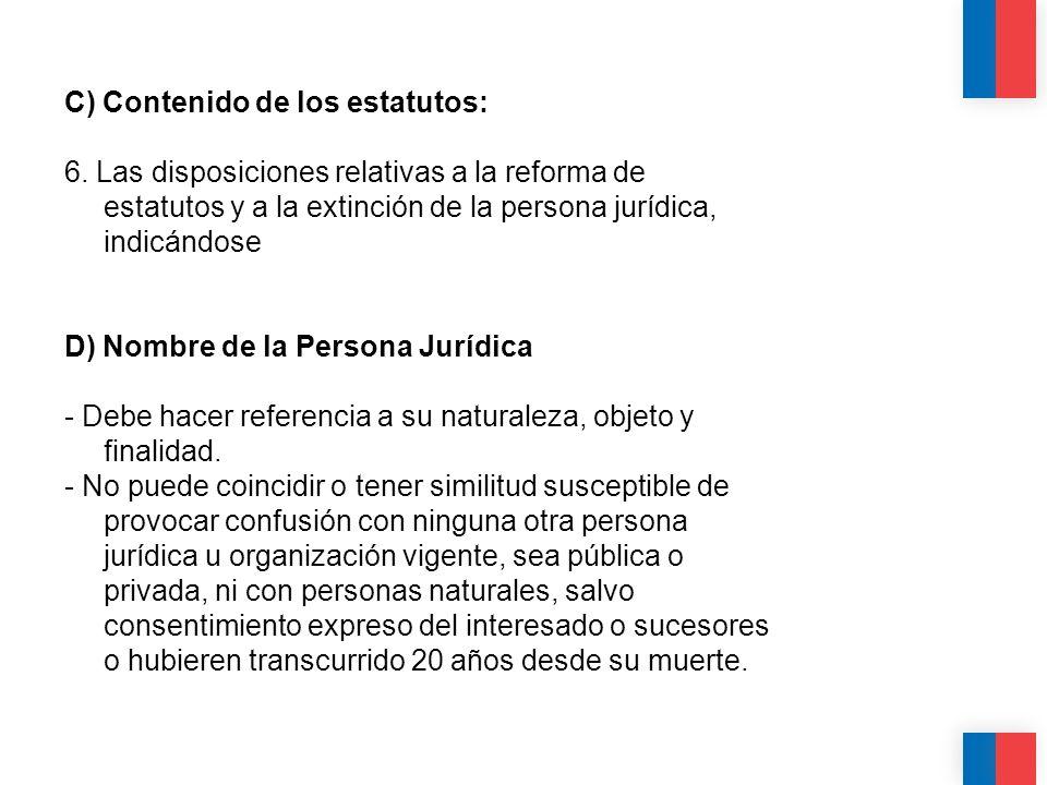 C) Contenido de los estatutos: