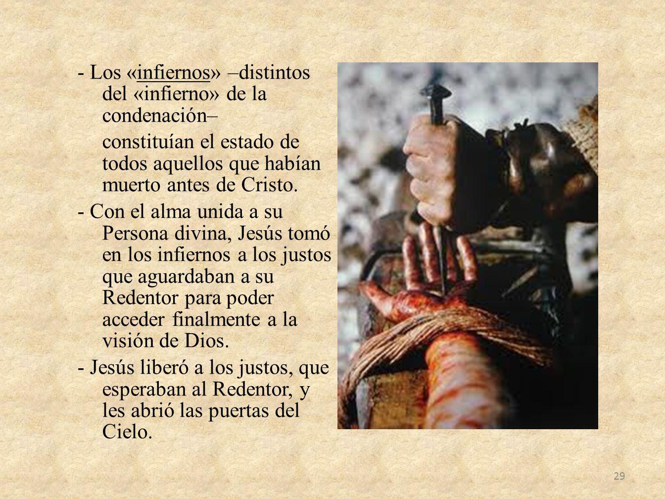 - Los «infiernos» –distintos del «infierno» de la condenación– constituían el estado de todos aquellos que habían muerto antes de Cristo.