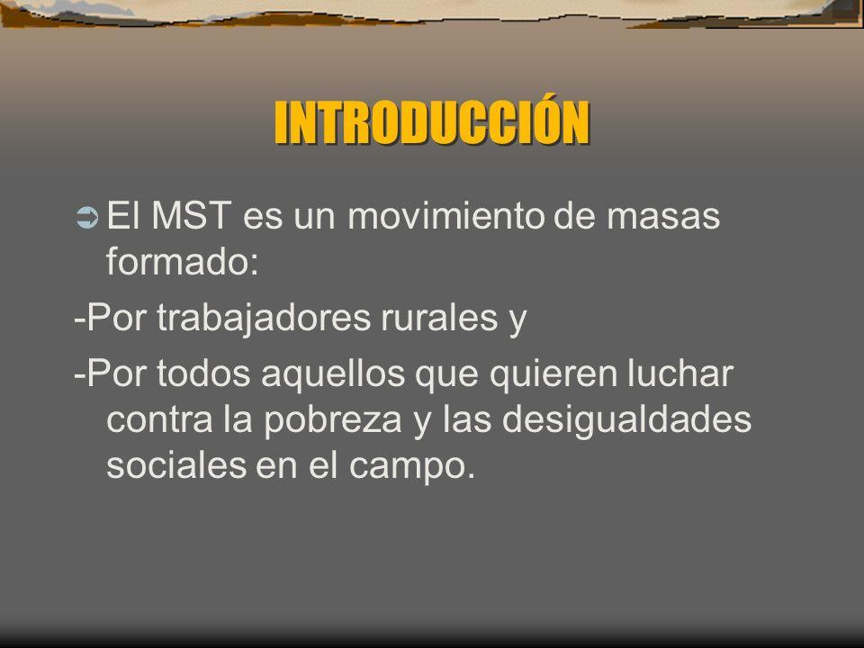 INTRODUCCIÓN El MST es un movimiento de masas formado: