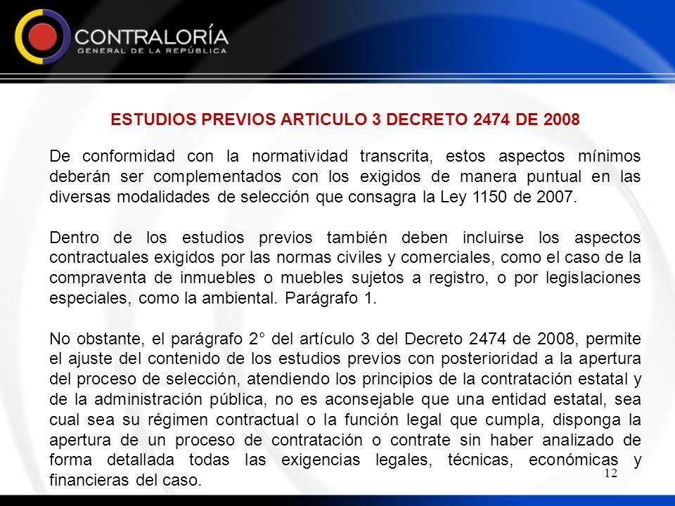 ESTUDIOS PREVIOS ARTICULO 3 DECRETO 2474 DE 2008