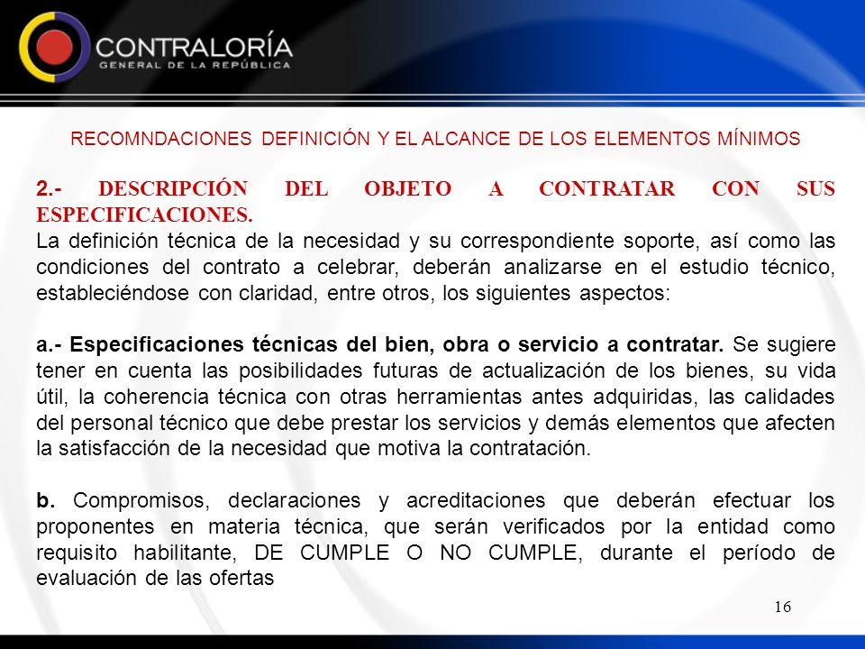 RECOMNDACIONES DEFINICIÓN Y EL ALCANCE DE LOS ELEMENTOS MÍNIMOS