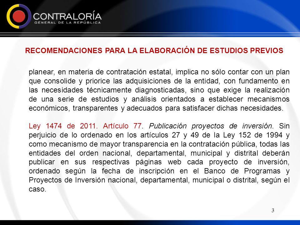 RECOMENDACIONES PARA LA ELABORACIÓN DE ESTUDIOS PREVIOS