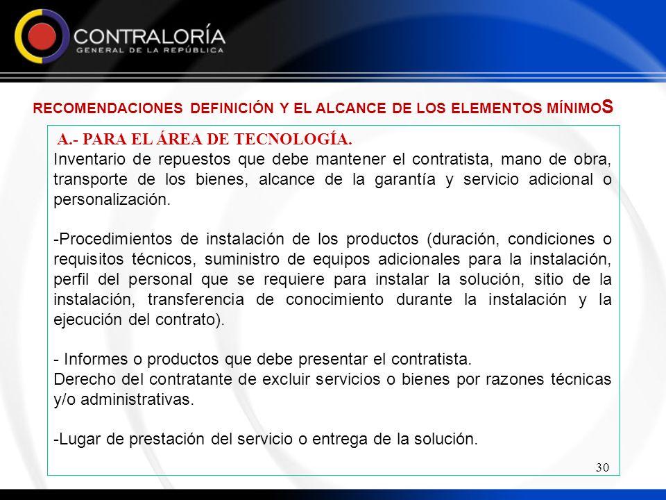 A.- PARA EL ÁREA DE TECNOLOGÍA.