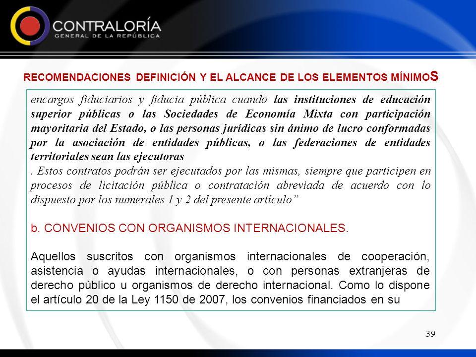 b. CONVENIOS CON ORGANISMOS INTERNACIONALES.