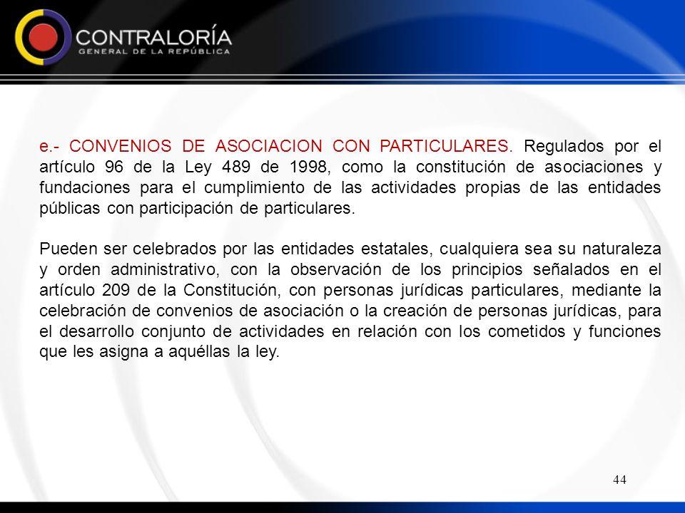 e. - CONVENIOS DE ASOCIACION CON PARTICULARES
