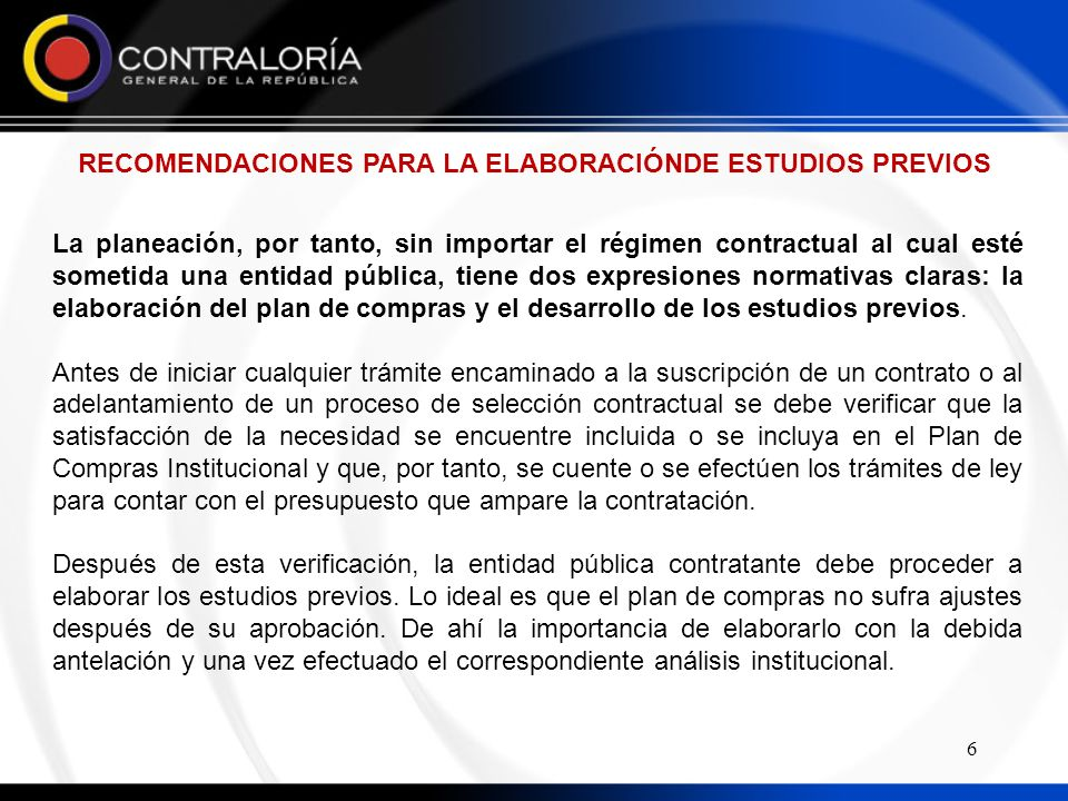 RECOMENDACIONES PARA LA ELABORACIÓNDE ESTUDIOS PREVIOS